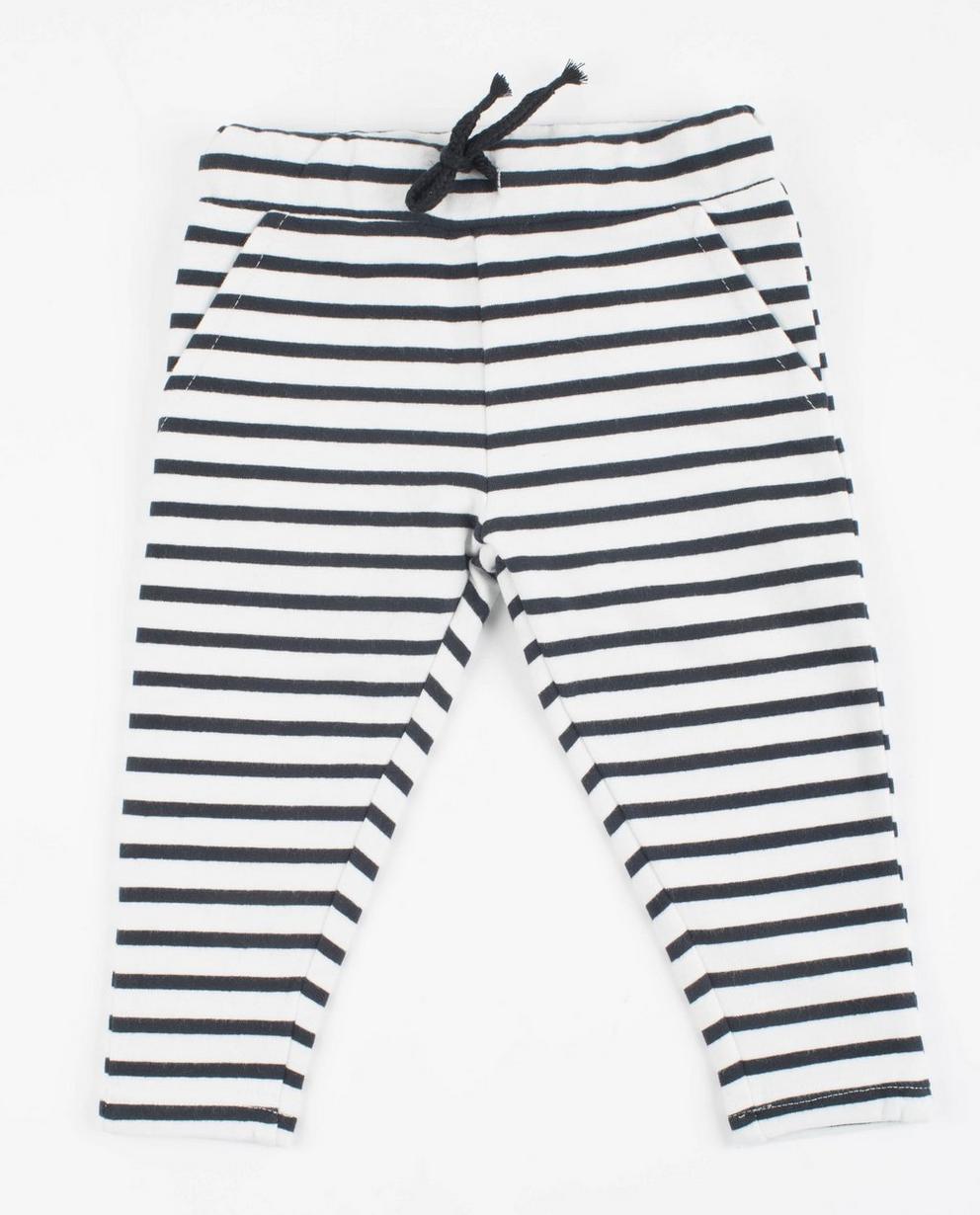 Pantalon molletonné - coton bio, rayé bleu et blanc - JBC